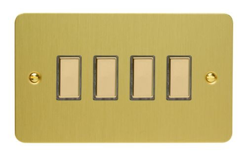Varilight JFBES004 Ultraflat Brushed Brass 4 Gang Touch Dimming Slave (use with V-Pro Master)